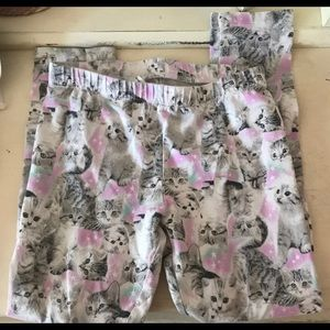 Cute cat print girls leggings 6/6x
